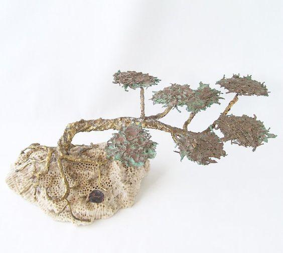 vintage brass bonsai tree sculpture stone by RecycleBuyVintage, $35.00: Bonsai Trees, Recyclebuyvintage 35, Sculpture, 35 00, 78 00, Brass Bonsai, 28 00, Recyclebuyvintage 78, Recyclebuyvintage 28