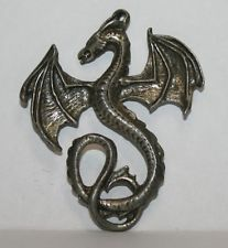 Silver / Pewter Tone Flying Dragon With Long Tail Pendant Jewelry