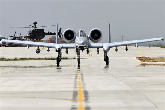 An A-10 Thunderbolt II taxis to the flightline in preparation for takeoff from…