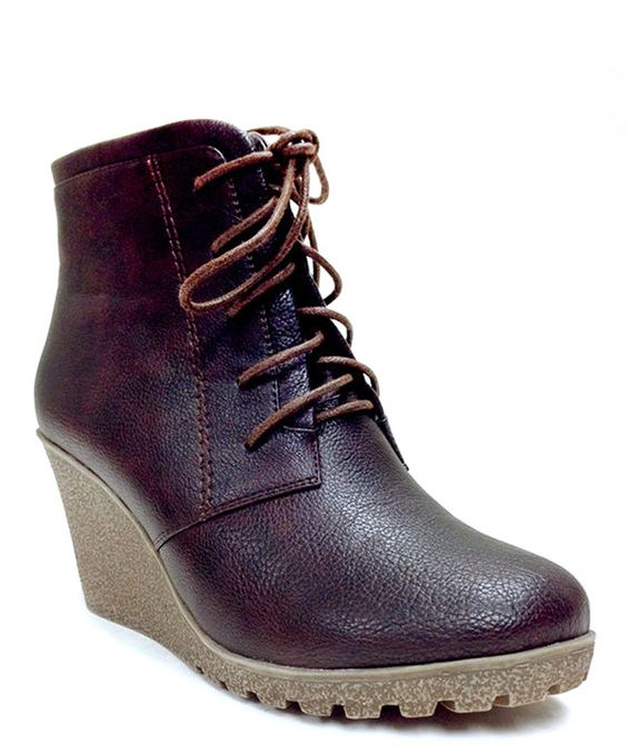 This Brown Cherry Lace-Up Bootie by Reneeze is perfect! #zulilyfinds