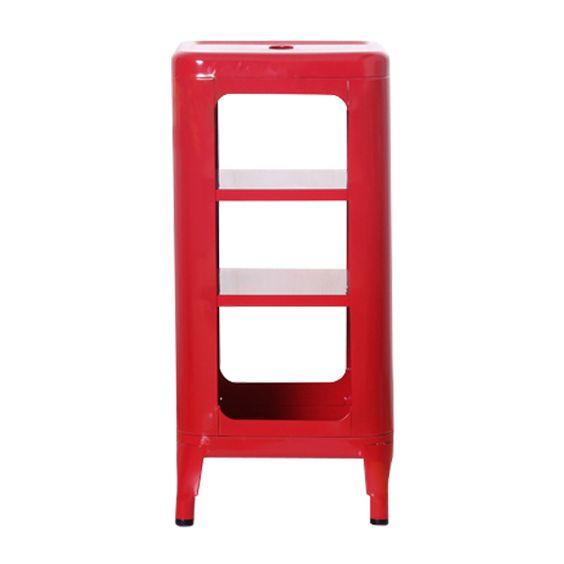 Decor8 Modern Furniture Hong Kong - Modern Storage Cabinets - Cafe Industrial Loft Metal Storage Unit and Bedside Cabinet - Three Tier Red