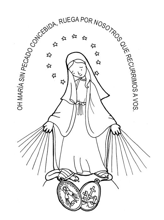 Immaculate Conception / Miraculous Medal Catholic Coloring Page