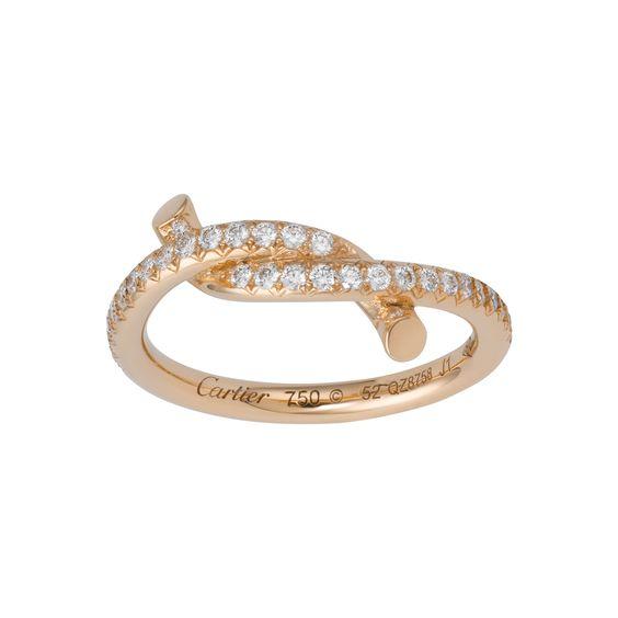 Entrelacés ring - Pink gold, diamonds - Fine Rings for women - Cartier