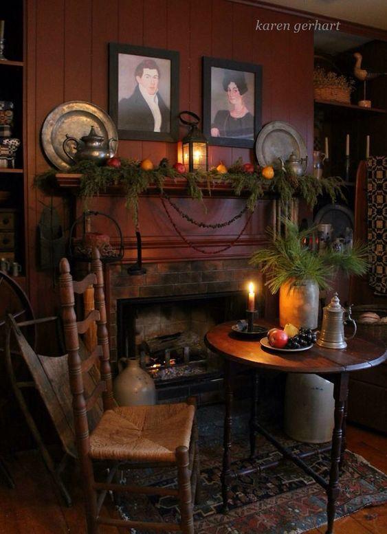 Create A Dickens Christmas Decor To Adore Primitive Decorating Country Primitive Homes Primitive Living Room