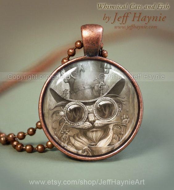 Steam punk CAT NECKLACE Steampunk Cat pendant // by JeffHaynieArt: