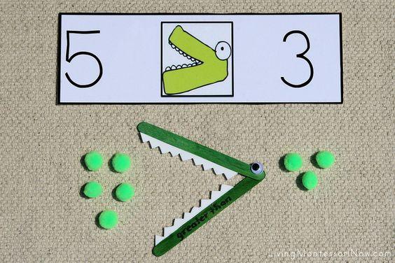 Les bouches ouvertes - Comparer des nombres en utilisant des signes de comparaison