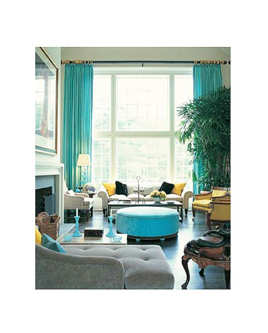 Living space with vivid color from Jamie Drake