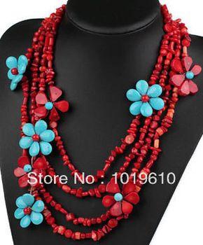 collar collar de 2014 declaración de estilo audaz de la vendimia de múltiples hebras fichas de coral rojo collar de Shourouk flor azul turquesa traje $14.58 collares de cadena - yyw