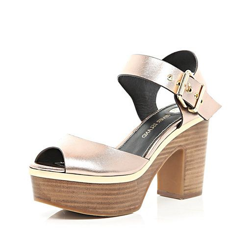 Gold metallic peep toe platform sandals River Island £50.00