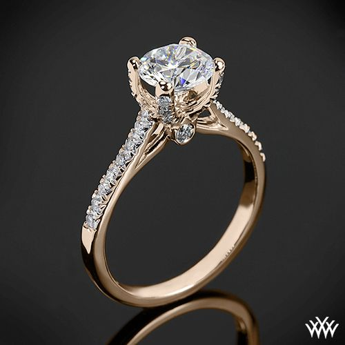 20k Rose Gold Verragio Eng 0371 4 Prong Petite Pave