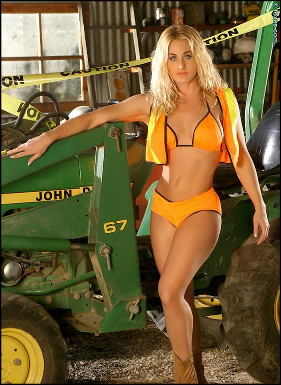 John Deere Babes : Girl in bikini by a john deere girls with tractors