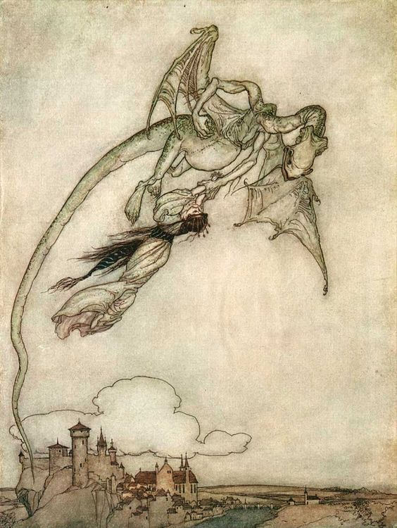 Pot-bellied dragon carries off a tiny princess like livestock. Fairy tale cliche has a viscerally sympathetic quality in Arthur Rackham's delicate illustrations.