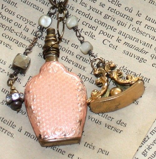 Antique French Guilloche Chatelaine Parfum Bottle