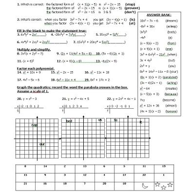 Printables Algebra Review Worksheet worksheets math teacher and jokes on pinterest joke worksheet to review quadratics