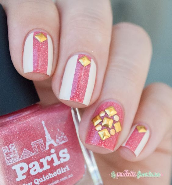 studded nails with picture polish paris - http://lapaillettefrondeuse.blogspot.be/2015/08/nailstorming-121-npa-studieuse.html