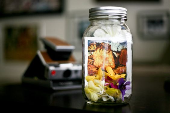 Lighted Mason Jar featuring a Polaroid of Van Gogh's Haystacks in Provence (batteries included)