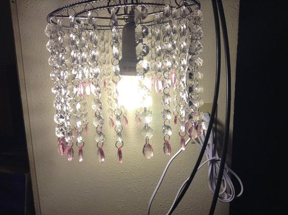 Pink & clear crystal chandelier