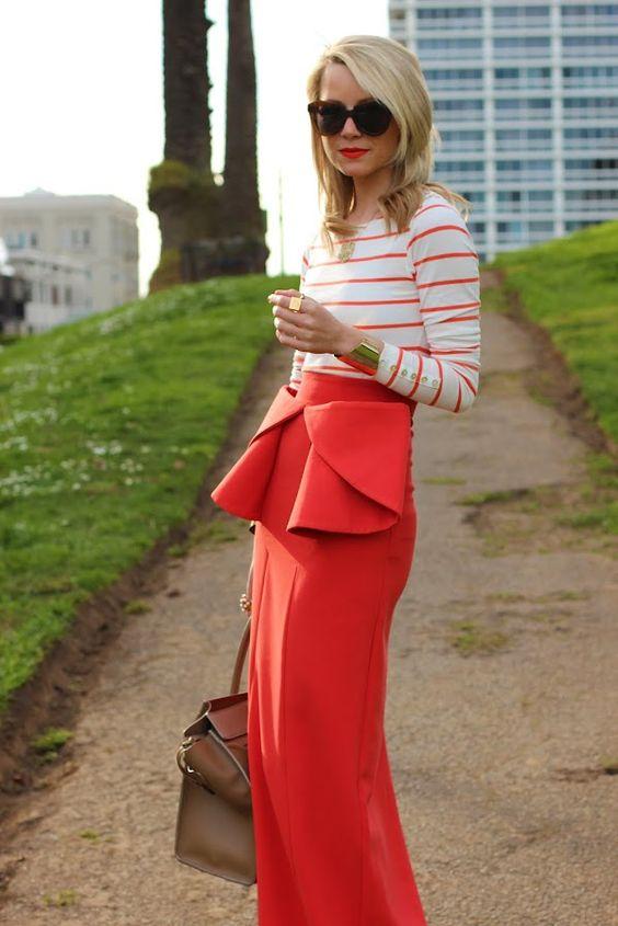 Atlantic-Pacific: orange peplum maxi skirt is so chic!