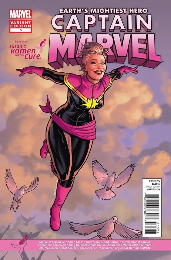 Captain Marvel Cover with Pink colored costume
