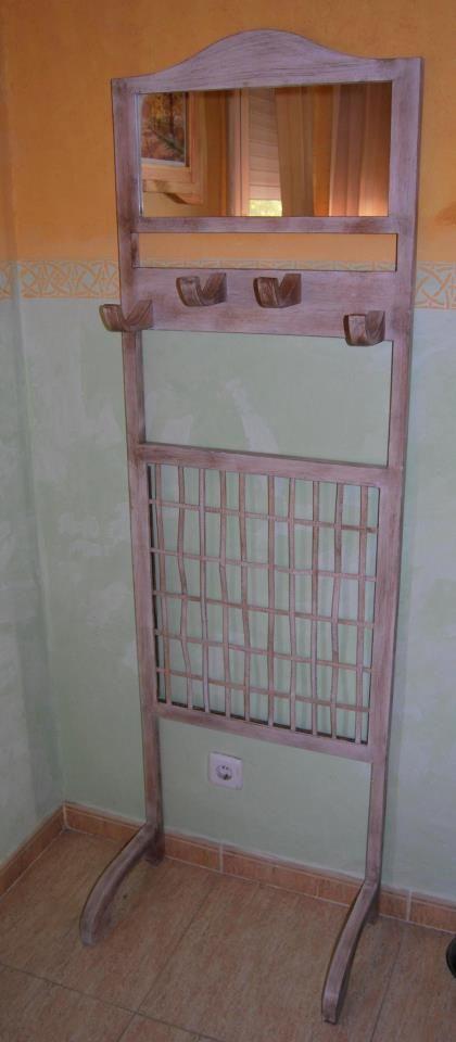 Colgador y espejo #madera #mueble #rustico #cosas #artesanal ...