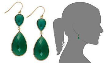 14k Gold over Sterling Silver Earrings, Pear-Cut Green Onyx Double Drop Earrings (35 ct. t.w.)