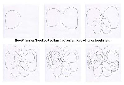 Free Art Lessons Plans: NeoPopRealism Ink Pen Drawing: Free lesson plan 1, ink/pattern drawing NeoWhimsies
