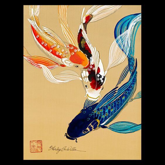 Hawaii artist shirley pu wills portfolio sumi e for Japanese koi carp paintings