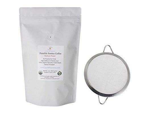 Purelife Enema Coffee Air Roasted 100 Organic  Gerson Accepted  Speciality Grade Beans  Mold  Fungus Free  with Micromesh Strainer *** Details can be found by clicking on the image.