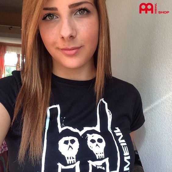 Black Meinl t-shirt with imprinted white metal-fork logo on chest - Girlie (M36) #meinlshop #meinlcymbals #meinl #meinlmetalfork #meinlmerch