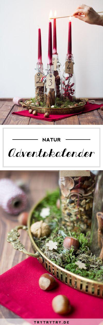 Natur Adventskranz für Weihnachten und den Advent. Kleines weihnachtliches DIY mit natürlichen Materialien