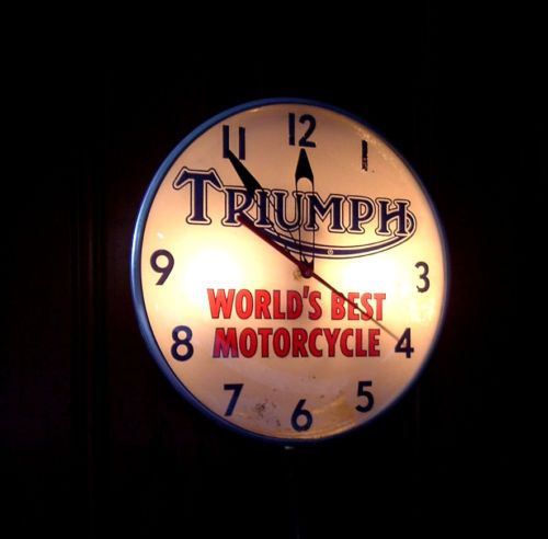 1960 original triumph motorcycle dealer clock pam light-up sign
