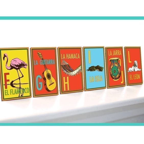 Bibitty Spanish Alphabet Flash Cards add fun color and by bibitty