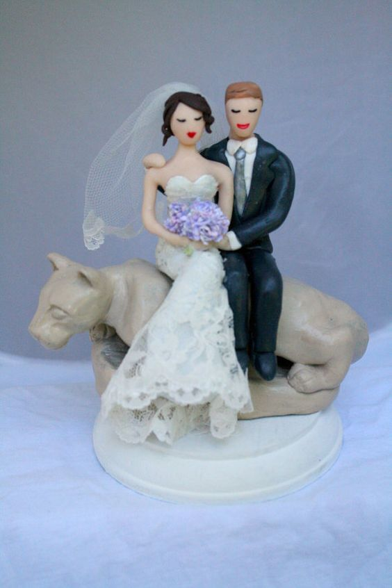 Customized Penn State Bride and Groom Wedding Cake Topper with Nittony Lion Statue