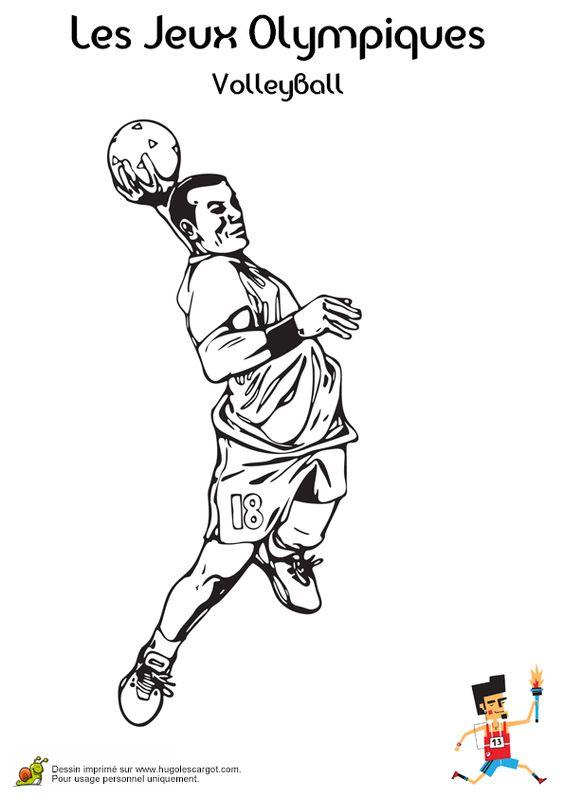 Un joueur de Volley-ball prenant son élan, à colorier