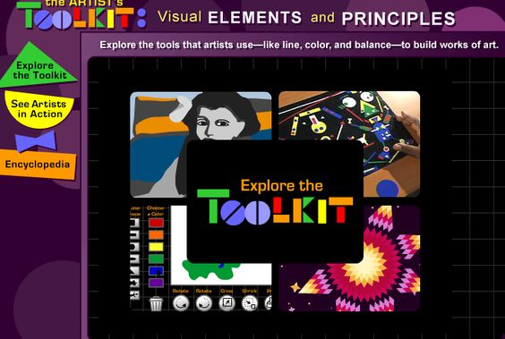 "The Artist's Toolkit.  This interactive site allows students to explore different elements that artists use. The animations in ""Explore the Toolkit"" include sound. There are two videos showing artists working. The ""Encyclopedia"" includes text descriptions as well as good visual examples"