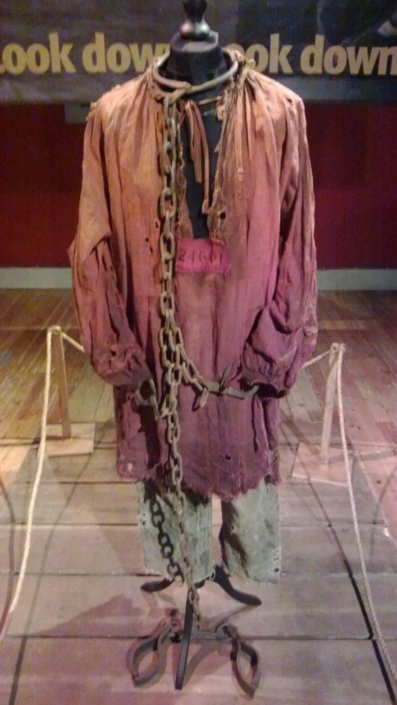 Hugh Jackman's prisoner costume from Les Miserables. Exhibition at Portsmouth Historic Dockyard. #film #costume