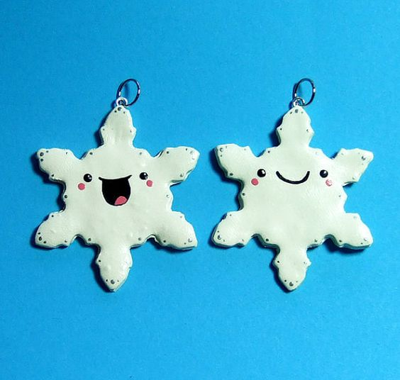Kawaii Happy Snowflakes Best Friends Charms Ornaments - READY TO SHIP - by The Happy Acorn