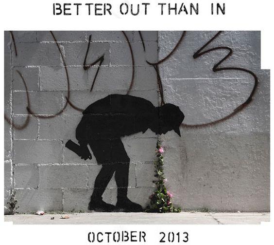 """Nueva pieza de Banksy en Los Angeles """"Mejor afuera que adentro"""""""