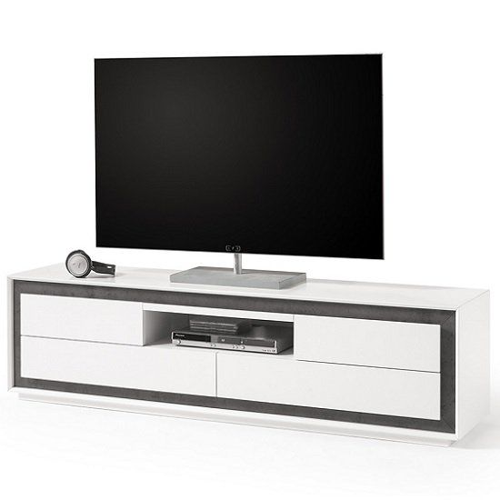 Chelsea Modern Tv Stand In White With Concrete Inserts Wooden Tv