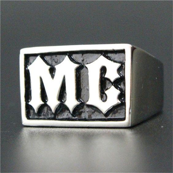 1 pc Fashion Jewelry Motorcycles Biker MC Ring 316L Stainless Steel Men Boys Silver Cool Man Biker Ring - V-Shop