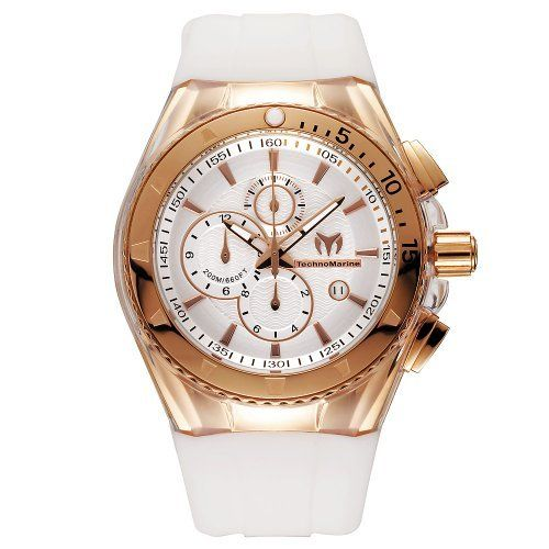 TechnoMarine Men's 110050 Cruise Original Star Chronograph Silver Dial Watch TechnoMarine. $535.50. Chronograph Quartz 45 mm pink gold PVD case and bezel. Clear transparent cover and white silicone strap. Water-resistant to 660 feet (200 M). Silver dial. Comes with and extra white cover and brown silicone strap