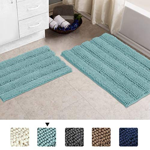 Turquoize 2 Piece Chenille Area Rug Dry Fast Waterproof Bath Mat Kitchen And Bathroom Mat Rug In 2020 Washable Bath Mat Chenille Bathroom Rugs Chenille Bath Rugs