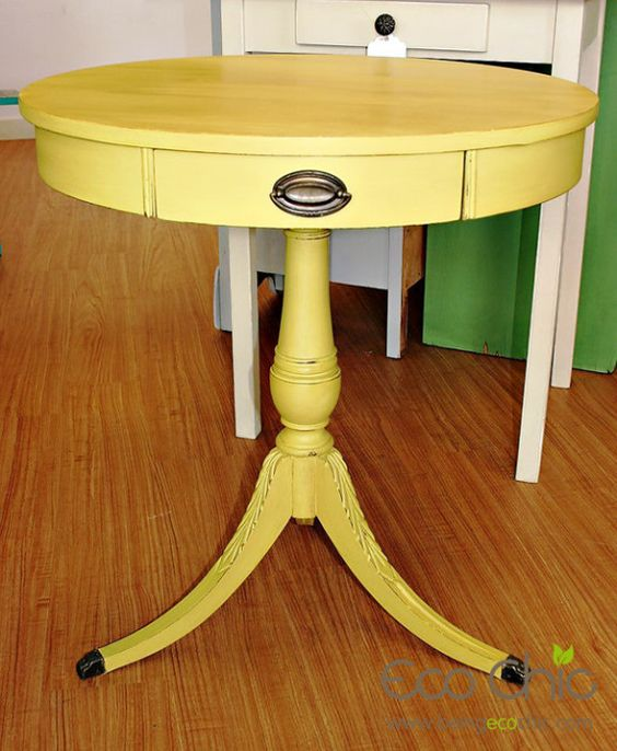 Nightstand in english yellow chalk paint want to paint for Yellow painted table