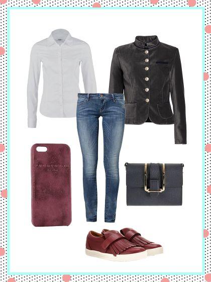 What to wear to work. Wie wäre es mal mit einem Samtblazer? Der pimpt das Basic Outfit mit Jeans und Bluse im Handumdrehen auf!