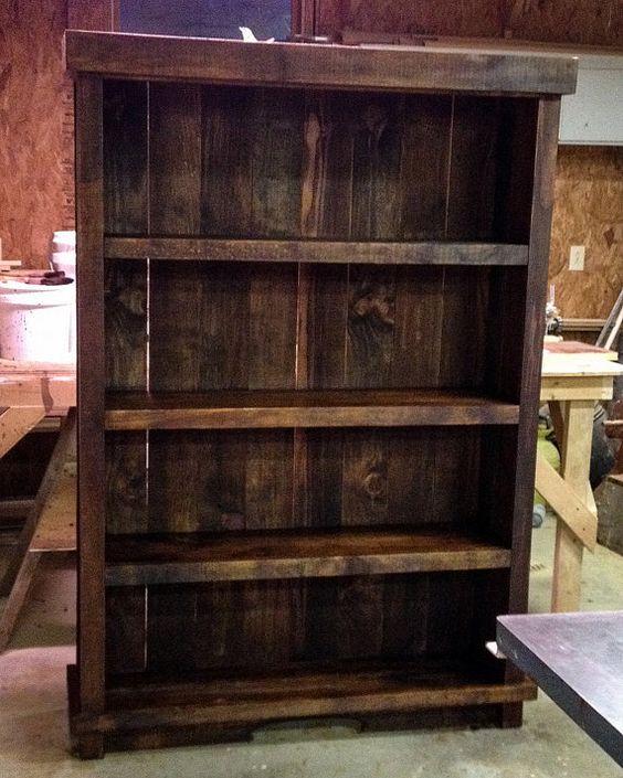 Rustic bookshelf Barnwood bookshelf Palletwood by BarnesandCo