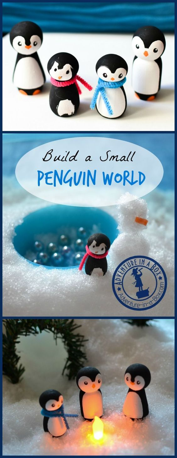 Build a Penguin Small World! A cute winter craft and a sensory activity. Turn wooden peg dolls into a family penguins and build a small world for them.