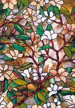 5 Meters Statische Cling Kleurrijke Frosted Magnolia Glasfolie Decor Badkamer Woonkamer Gebrandschilderde Privacy Window Decal(China (Mainland))