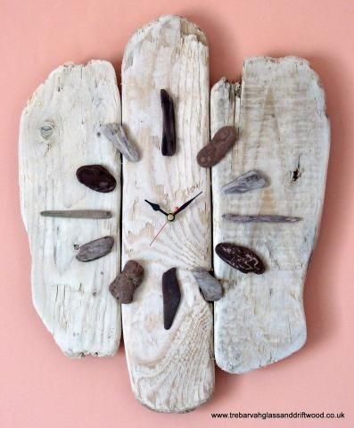 driftwood, pebbles, sea glass maybe, and clockworks=beachy clock: