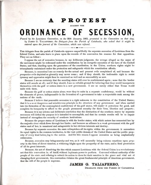 The Article Of Secession Or Ordinance Of Secession Stating Why The South Is Succeeding Louisiana Us History Ordination