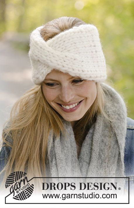 Defiance - Knitted head band with cable. Piece is knitted in DROPS Polaris. Free knitted pattern DROPS 192-41